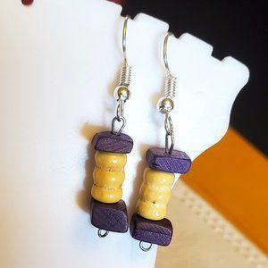 Silver Tone Hook Wood Bead Dangle Earrings Artisan